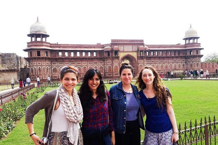 female traveler group in india